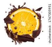 slice of orange with chocolate... | Shutterstock .eps vector #1767305951