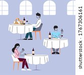 social distance in restaurant ...   Shutterstock .eps vector #1767306161