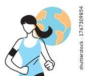woman avatar running with world ...   Shutterstock .eps vector #1767309854