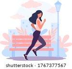 girl running around in park.... | Shutterstock .eps vector #1767377567