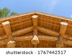 Wooden Roof Made Of Large Logs...