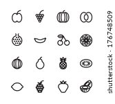thin line icons for fruits.... | Shutterstock . vector #176748509