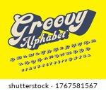 a groovy hippie style alphabet...   Shutterstock .eps vector #1767581567