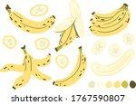 banana  banana slice  peeled... | Shutterstock .eps vector #1767590807