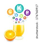 orange juice  minerals and... | Shutterstock . vector #176760917