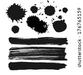 set of vector ink spots ... | Shutterstock .eps vector #176765159