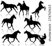 set vector silhouette of horse... | Shutterstock .eps vector #176765615