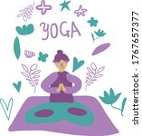 yoga girl colorful doodle poster | Shutterstock .eps vector #1767657377