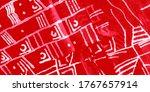 Red Elegant Geometric Print....