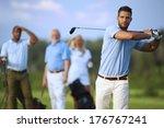handsome male golfer swinging... | Shutterstock . vector #176767241