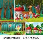 four different scene of fantasy ...   Shutterstock .eps vector #1767755027