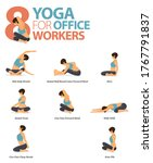 infographic of 8 yoga poses for ... | Shutterstock .eps vector #1767791837