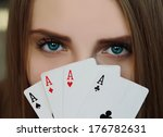 woman with cards | Shutterstock . vector #176782631