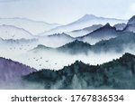 landscape with mountains  birds ... | Shutterstock .eps vector #1767836534