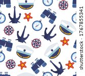 nautical signs seamless pattern ... | Shutterstock .eps vector #1767855341