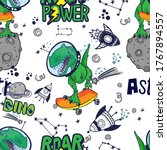 dinosaurs in space hand drawn... | Shutterstock .eps vector #1767894557