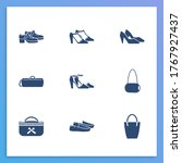 shoes icon set and cosmetic bag ...
