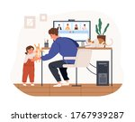 cute female kid and cat... | Shutterstock .eps vector #1767939287
