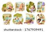 set of people enjoying slow... | Shutterstock .eps vector #1767939491