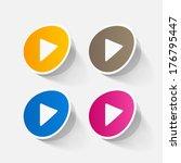 paper sticker  play button web... | Shutterstock .eps vector #176795447