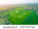 Aerial view of land and...