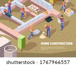 workers foundation building.... | Shutterstock .eps vector #1767966557