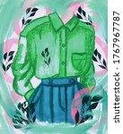 green shirt and blue pants....   Shutterstock . vector #1767967787