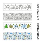 horizontal banners with doodle... | Shutterstock .eps vector #1767984521