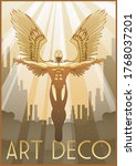 Art Deco Style Poster Flying...