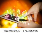 finger pointing on tablet pc ... | Shutterstock . vector #176805695