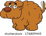 Cute fluffy cartoon vector dog, smiling with tail wagging.  - stock vector