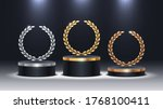 stage podium with laurel wreath.... | Shutterstock .eps vector #1768100411