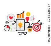 vector smm elements. social... | Shutterstock .eps vector #1768135787