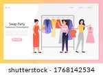young beautiful girls at a swap ... | Shutterstock .eps vector #1768142534