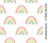 hand drawing rainbow pattern... | Shutterstock .eps vector #1768146134