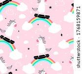 hand drawing unicorn pattern... | Shutterstock .eps vector #1768159871
