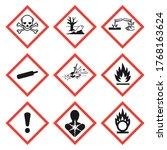 ghs pictogram hazard sign set.... | Shutterstock .eps vector #1768163624