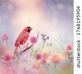 Small photo of Male Northern Cardinal in the flower garden