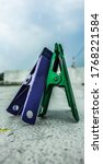 Purple And Green Cloth Pin Wit...