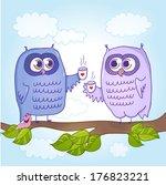 two cute cartoon owls drinking... | Shutterstock .eps vector #176823221