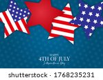 4th of July banner. United States of America independence day holiday. National symbolics stars. Vector illustration.