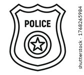 police gold badge icon. outline ... | Shutterstock .eps vector #1768265984