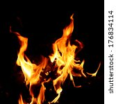 red fire and flame with a black ... | Shutterstock . vector #176834114