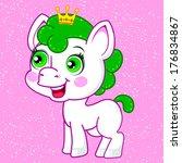 vector kawaii horse with crown | Shutterstock .eps vector #176834867
