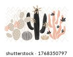 cactus succulent wild rose... | Shutterstock .eps vector #1768350797