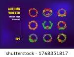 autumn wreath set in neon style.... | Shutterstock .eps vector #1768351817