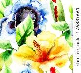 floral seamless pattern ... | Shutterstock . vector #176839661