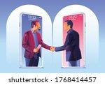 businessmen use video... | Shutterstock .eps vector #1768414457