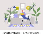 young female character sitting... | Shutterstock .eps vector #1768497821