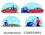 traffic accident set. woman...   Shutterstock .eps vector #1768553891
